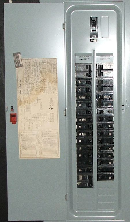 Typical AC circuit breaker panel
